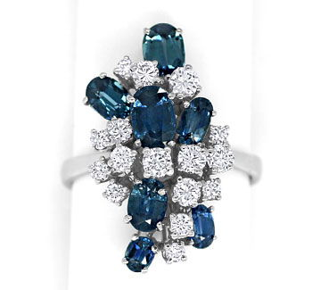Foto 1 - Designer Ring 2,9ct Safire und 0,77ct Brillanten in 18K, S9589