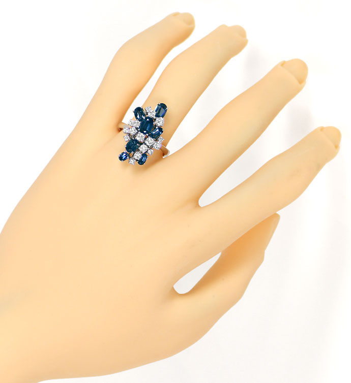 Foto 4 - Designer Ring 2,9ct Safire und 0,77ct Brillanten in 18K, S9589