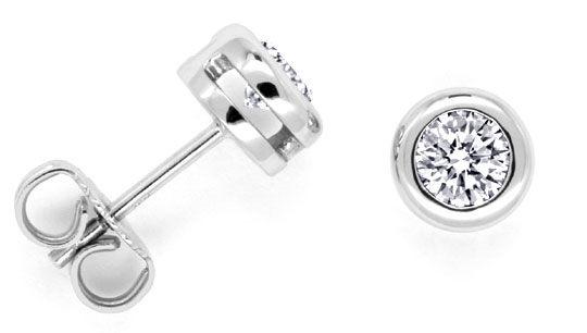 Foto 1, Diamant Ohrstecker 0,67 Diamanten, 18K Weissgold Luxus!, S9604