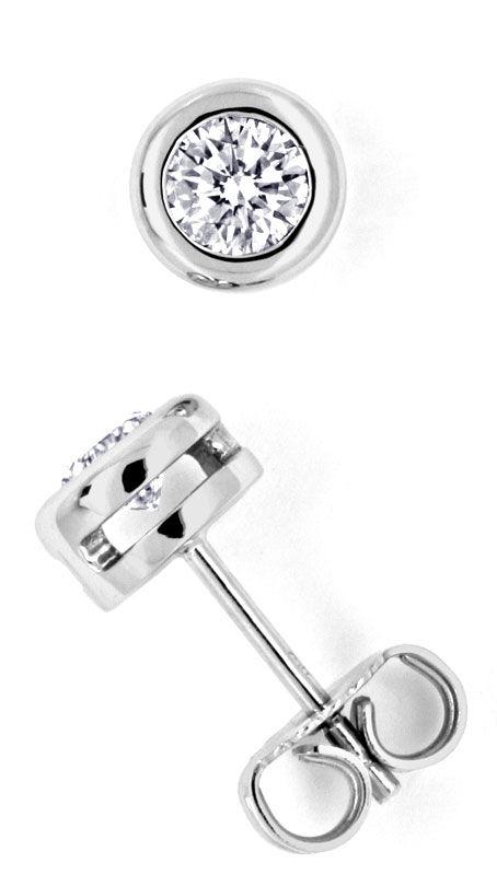 Foto 2, Diamant Ohrstecker 0,67 Diamanten, 18K Weissgold Luxus!, S9604