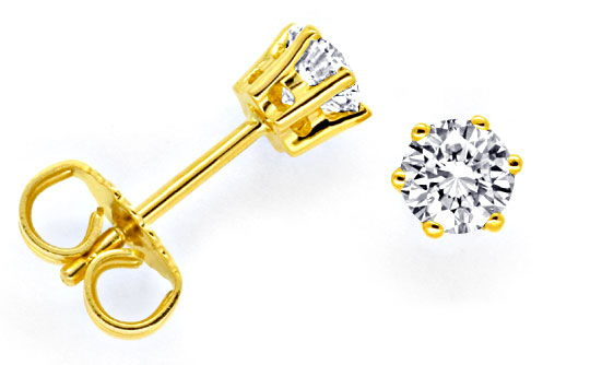 Foto 1, Brilliant Gold Ohrstecker 18K 0,68ct Brillianten Luxus!, S9605