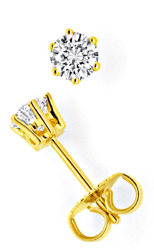Foto 2, Brilliant Gold Ohrstecker 18K 0,68ct Brillianten Luxus!, S9605