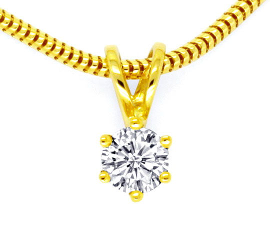 Foto 2, Lupenreines Brillant Diamant Goldkollier Collier Luxus!, S9606