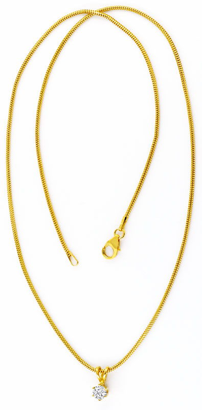 Foto 3, Lupenreines Brillant Diamant Goldkollier Collier Luxus!, S9606