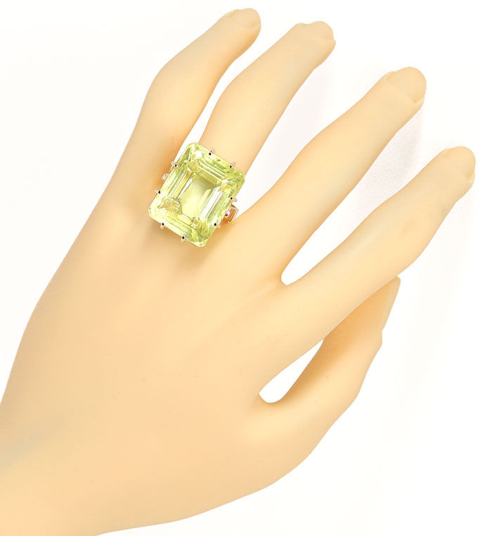 Foto 4 - Riesiger 33,5ct Lemon Citrin in Gelbgoldring Handarbeit, S9610