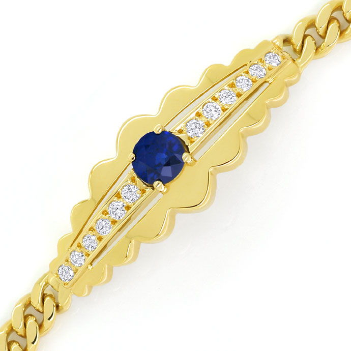 Foto 2, Diamantarmband 0,90ct Safir und 0,32ct Brillanten 585er, S9616