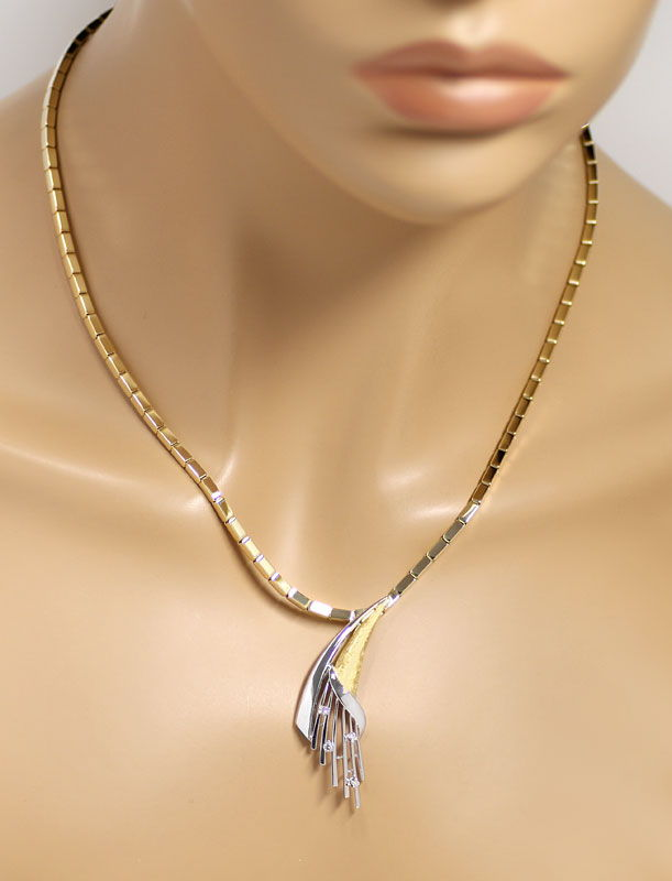 Foto 4 - Handarbeits Goldkollier mit River Diamanten in 14K Gold, S9625