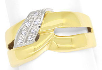 Foto 1 - Gold Ring mit River Lupenreinen Diamanten in massiv 750, S9634