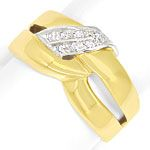 Gold Ring mit River Lupenreinen Diamanten in massiv 750