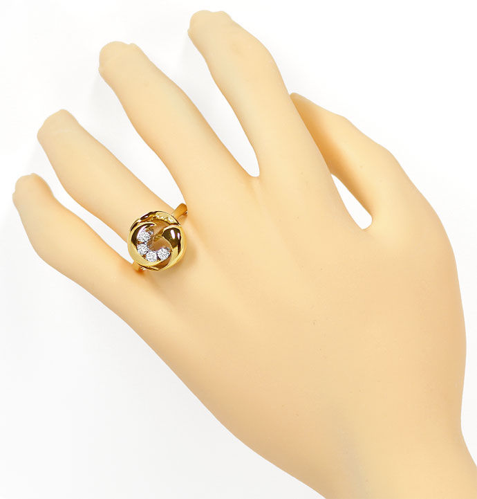 Foto 4, Goldring Knoten Design 0,3ct Brillanten River lupenrein, S9636