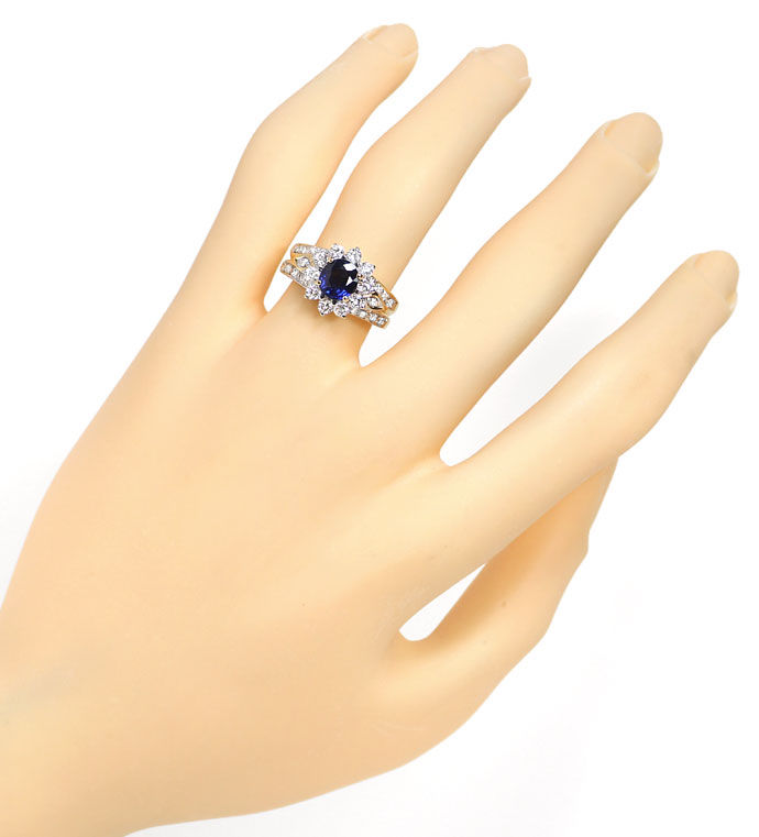 Foto 4 - Diamantring mit 0,88ct Brillanten 1,12ct Spitzen Saphir, S9647