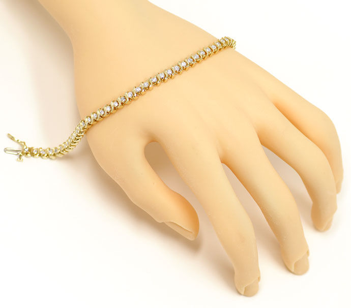 Foto 4, Luxuriöses Tennisarmband mit 1,72ct Brillanten 14K Gold, S9652