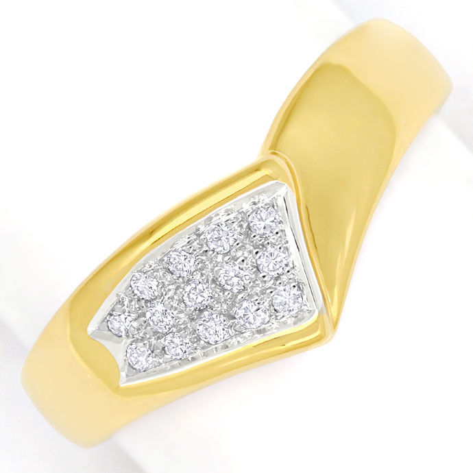 Foto 2, Dekorativer Diamantring mit 14 Brillanten in 585er Gold, S9653