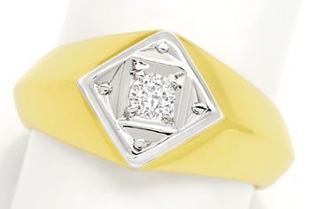 Foto 1 - Massiver Gold Ring mit 0,15ct Brillant in 585er Bicolor, S9676