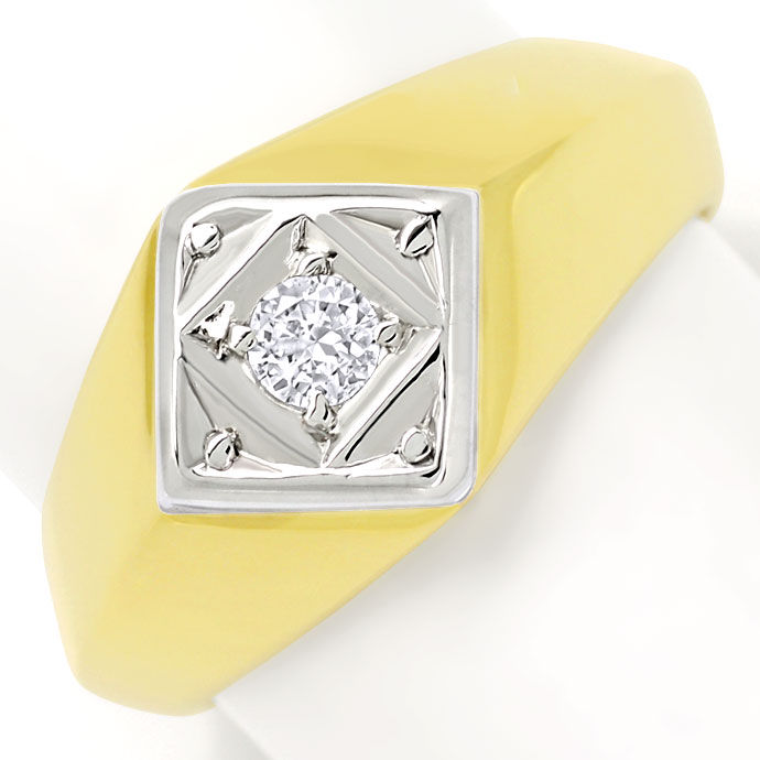 Foto 2, Massiver Gold Ring mit 0,15ct Brillant in 585er Bicolor, S9676