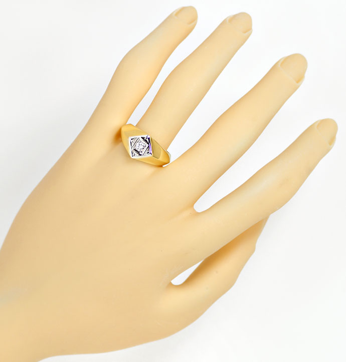 Foto 4, Massiver Gold Ring mit 0,15ct Brillant in 585er Bicolor, S9676