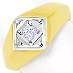 Massiver Gold Ring mit 0,15ct Brillant in 585er Bicolor