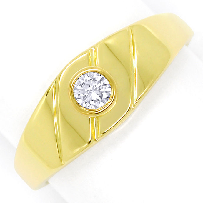Diamantbandring mit 0,12ct River Brilliant 14K Gelbgold, Designer Ring