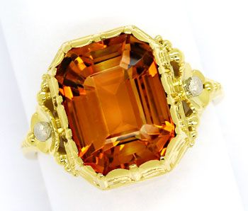Foto 1, Goldring mit 5,7ct Spitzen Madeira Citrin in 585er Gold, S9698