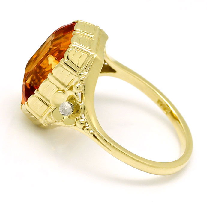 Foto 3, Goldring mit 5,7ct Spitzen Madeira Citrin in 585er Gold, S9698