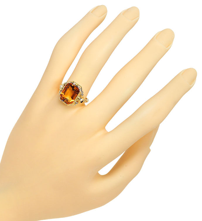 Foto 4, Goldring mit 5,7ct Spitzen Madeira Citrin in 585er Gold, S9698