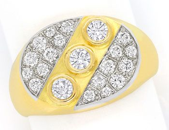 Foto 1 - Massiver Goldring mit 0,45ct Brillianten in 18K Bicolor, S9706