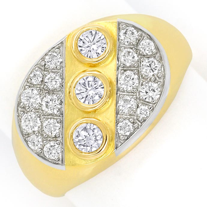 Foto 2 - Massiver Goldring mit 0,45ct Brillianten in 18K Bicolor, S9706