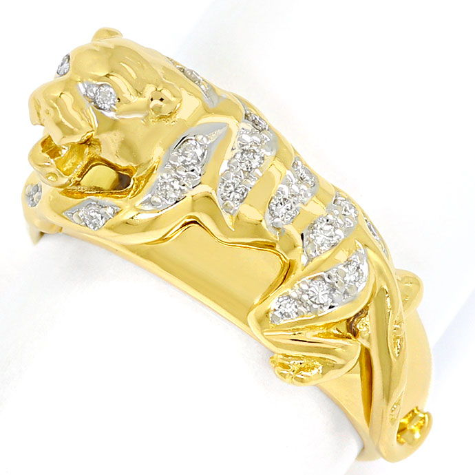 Foto 2 - Diamantbandring Panther mit 0,15ct Brillanten, Gelbgold, S9708