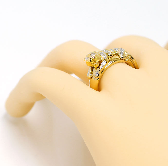 Foto 4 - Diamantbandring Panther mit 0,15ct Brillanten, Gelbgold, S9708
