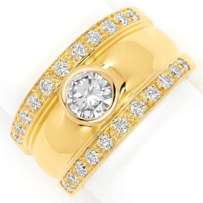Breiter Diamant Bandring mit 1,02ct Brillanten 18K Gold, Designer Ring