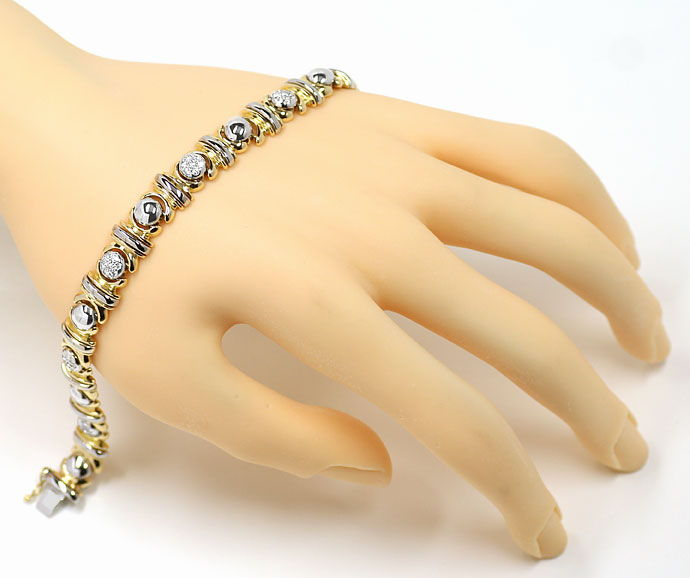 Foto 4, Designer-Diamantenarmband 0,61ct Brillanten 18K Bicolor, S9723