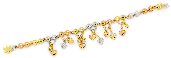Foto 1, Charm Armband teils mit Brillanten in 750 Tricolor Gold, S9724