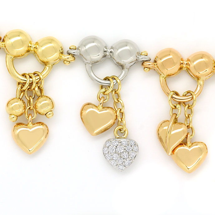 Foto 2, Charm Armband teils mit Brillanten in 750 Tricolor Gold, S9724