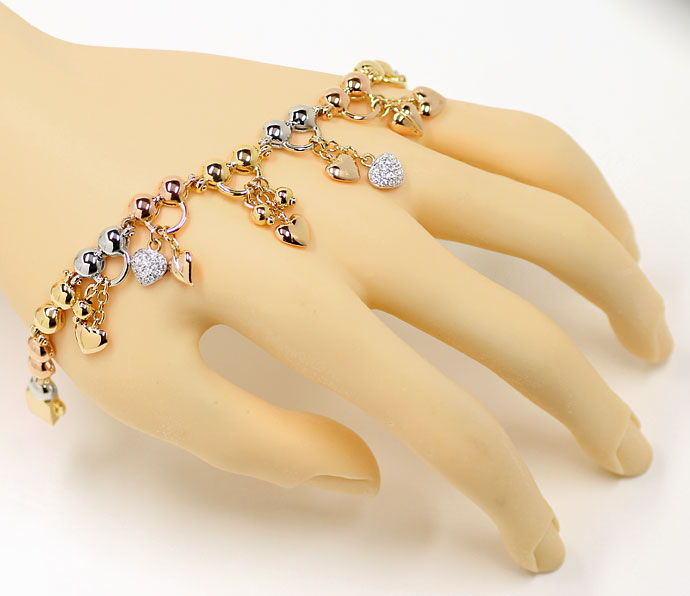 Foto 4, Charm Armband teils mit Brillanten in 750 Tricolor Gold, S9724
