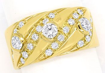 Foto 1, Diamantenbandring mit 0,84ct Brillanten in 18K Gelbgold, S9728