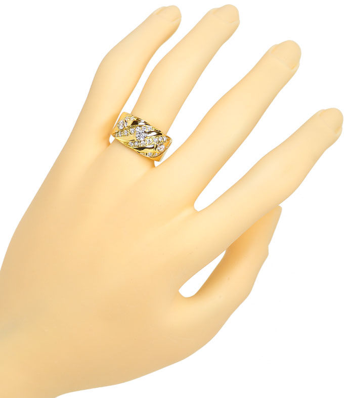 Foto 4, Diamantenbandring mit 0,84ct Brillanten in 18K Gelbgold, S9728