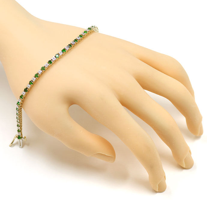Foto 4 - Tennisarmband mit 30 Diamanten und 30 Smaragden in Gold , S9729