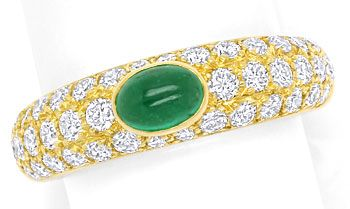 Foto 1, Cartier Mimi Yellow Gold Diamond Pavee and Emerald Ring, S9731