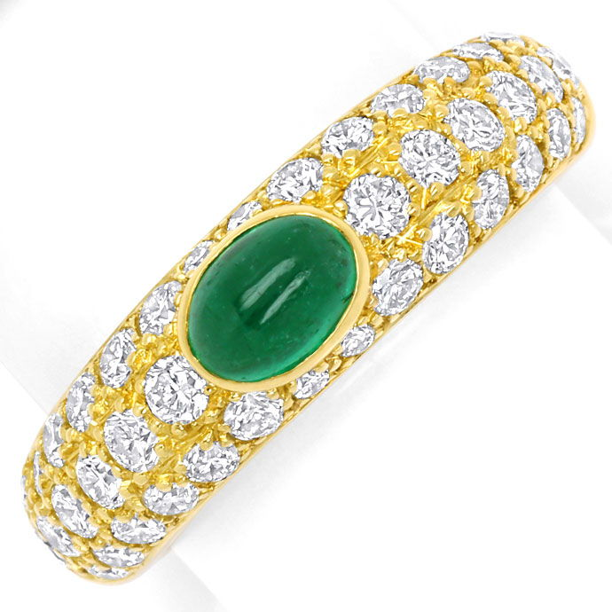 Foto 2, Cartier Mimi Yellow Gold Diamond Pavee and Emerald Ring, S9731