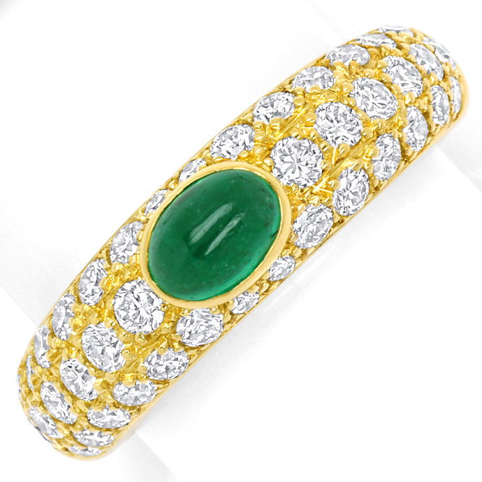 Cartier Mimi Yellow Gold Diamond Pavee and Emerald Ring, Edelstein Farbstein Ring