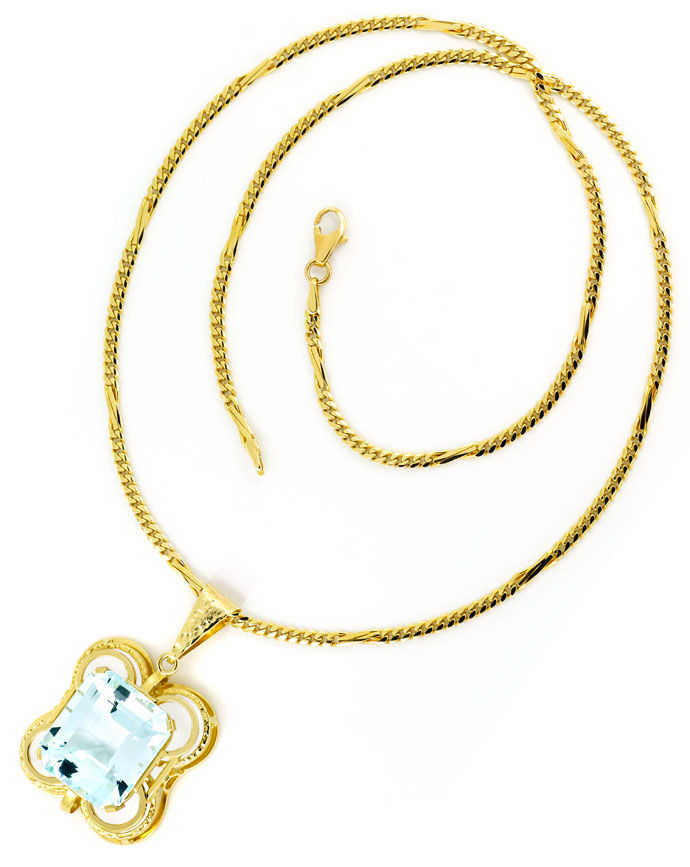 Foto 4 - Riesiger 26ct Super Aquamarin, Handarbeits Gold Kollier, S9739