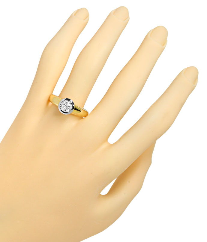 Foto 4, Einkaräter Ring 1,08ct Brillant Solitär in Bicolor Gold, S9746