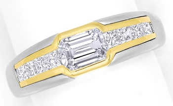 Foto 1, Platin Gold Ring mit Emerald Cut und Princess Diamanten, S9747