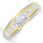 Platin Gold Ring mit Emerald Cut und Princess Diamanten