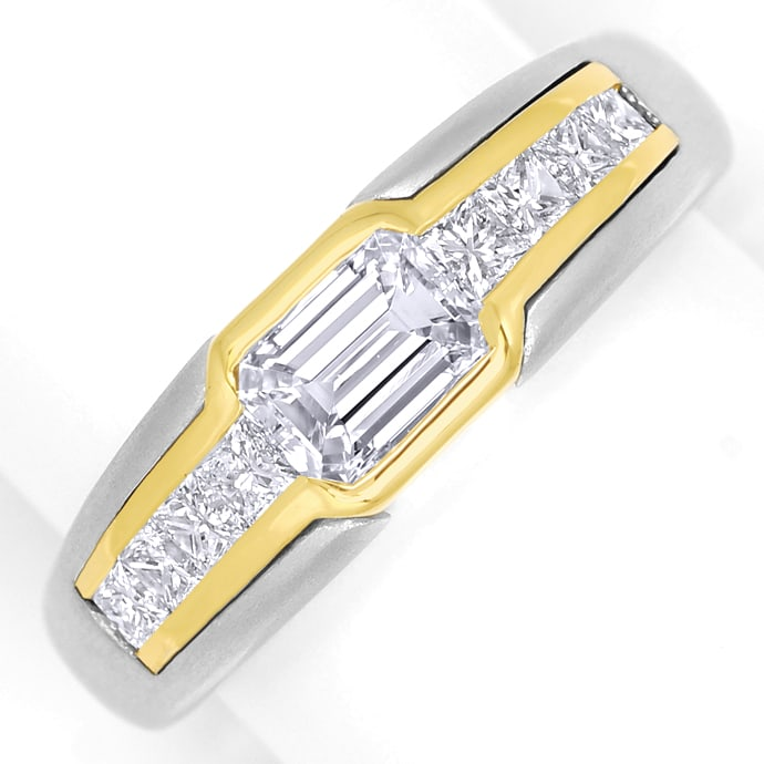 Platin Gold Ring mit Emerald Cut und Princess Diamanten, Designer Ring