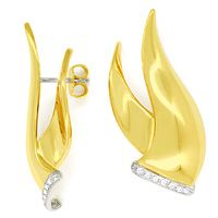 zum Artikel Design Ohrstecker mit 0,12ct Brillanten in Bicolor Gold, S9757