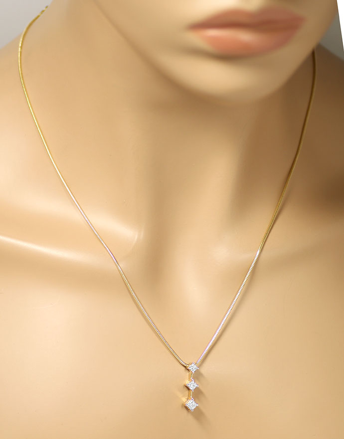 Foto 4, Diamanten Kollier 0,53ct Princess Diamanten in 14K Gold, S9764