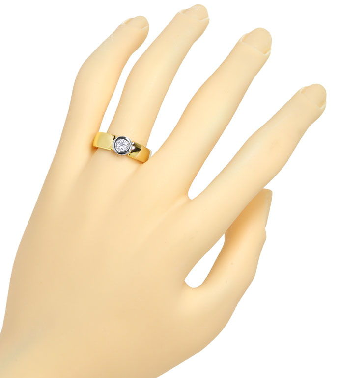 Foto 4, Zargen Bandring mit 0,29ct River Brillant in 585er Gold, S9770