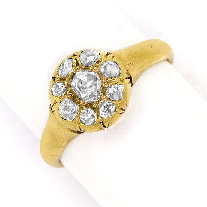 Foto 2, Diamantring antik 0,63ct folierte Diamantrosen 14k Gold, S9771