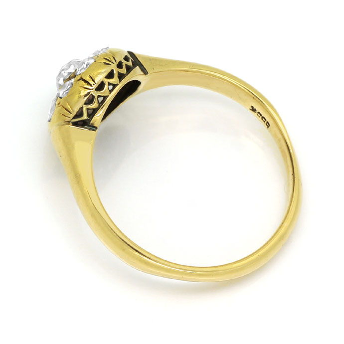 Foto 3, Diamantring antik 0,63ct folierte Diamantrosen 14k Gold, S9771